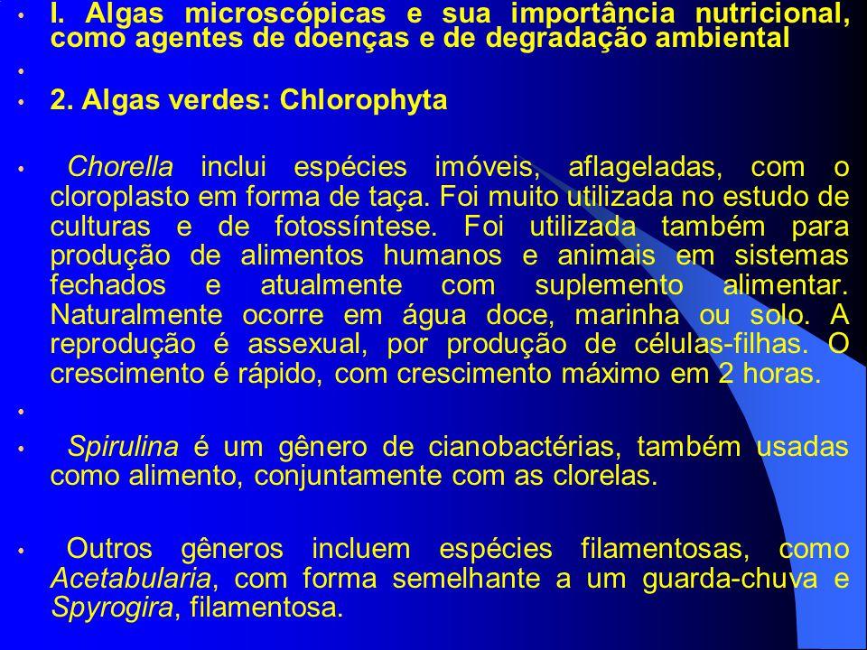 I. Algas microscópicas e sua importância nutricional, como agentes de doenças e de degradação ambiental