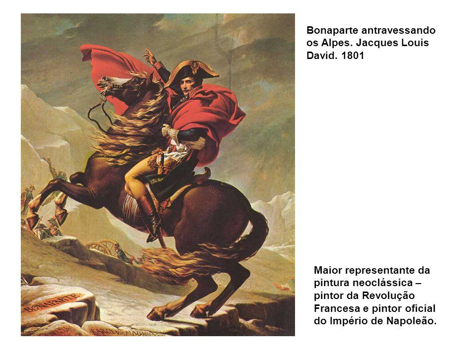 Bonaparte antravessando os Alpes. Jacques Louis David. 1801