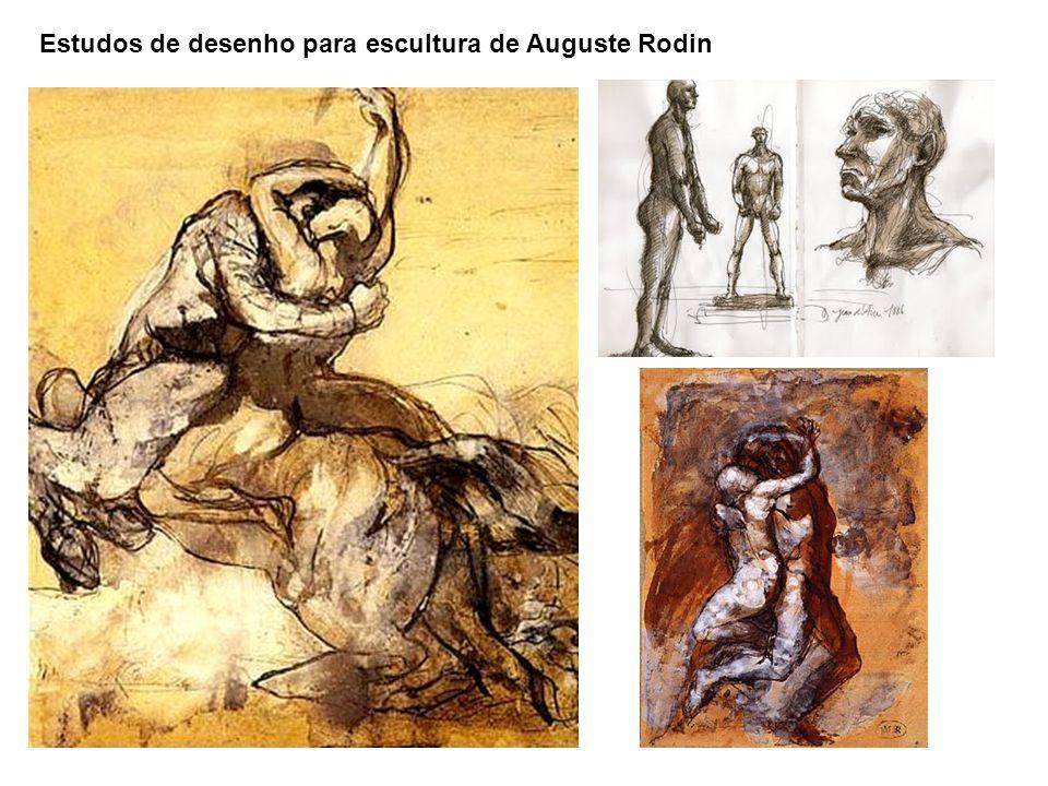 Estudos de desenho para escultura de Auguste Rodin