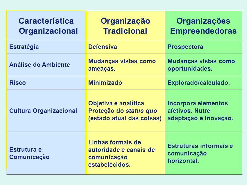 Característica Organizacional Organização Tradicional Organizações