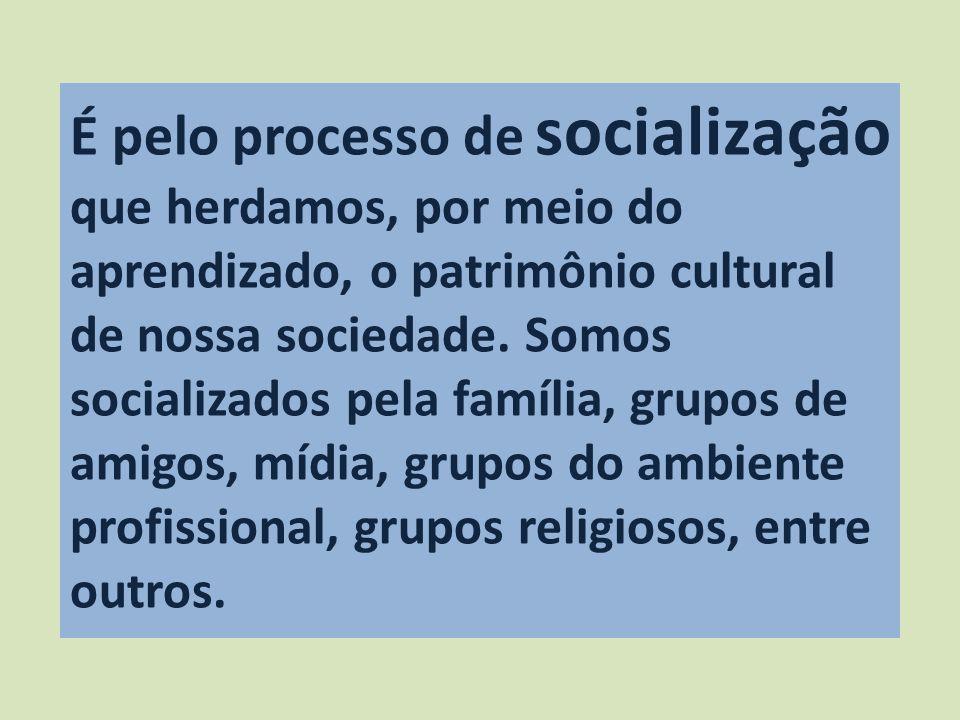 É pelo processo de socialização que herdamos, por meio do aprendizado, o patrimônio cultural de nossa sociedade.