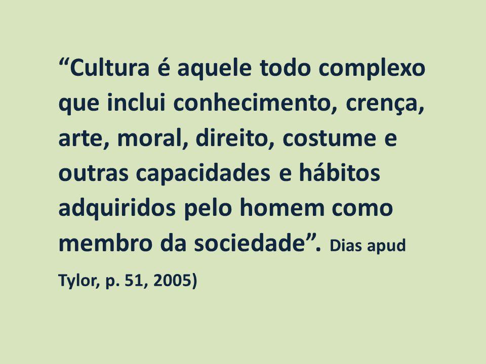 Cultura é aquele todo complexo que inclui conhecimento, crença, arte, moral, direito, costume e outras capacidades e hábitos adquiridos pelo homem como membro da sociedade .