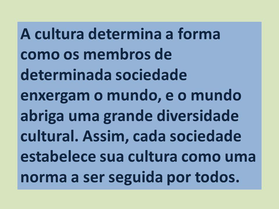 A cultura determina a forma como os membros de determinada sociedade enxergam o mundo, e o mundo abriga uma grande diversidade cultural.