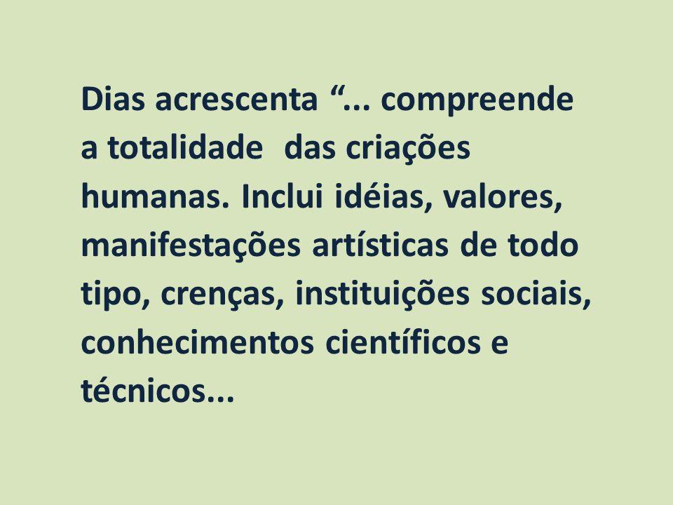 Dias acrescenta . compreende a totalidade das criações humanas