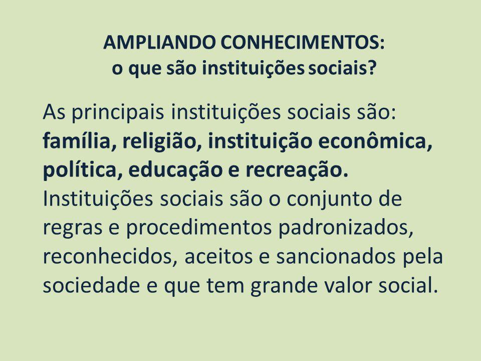 AMPLIANDO CONHECIMENTOS: o que são instituições sociais