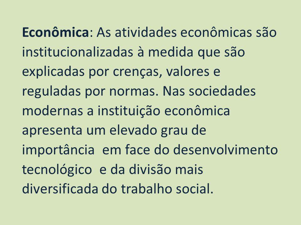 Econômica: As atividades econômicas são institucionalizadas à medida que são explicadas por crenças, valores e reguladas por normas.