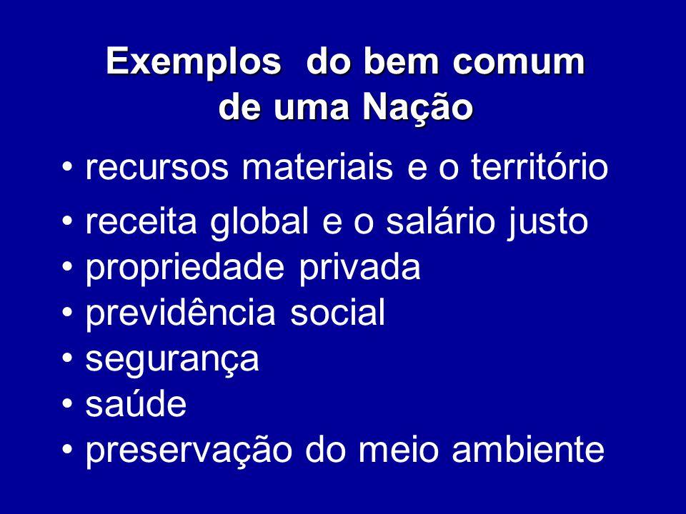 Exemplos do bem comum de uma Nação. recursos materiais e o território. receita global e o salário justo.
