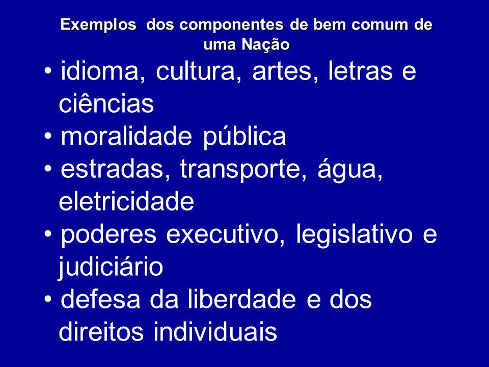 Exemplos dos componentes de bem comum de uma Nação