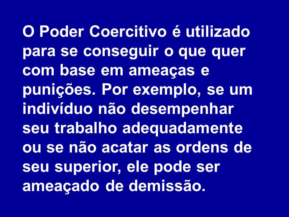 O Poder Coercitivo é utilizado para se conseguir o que quer com base em ameaças e punições.