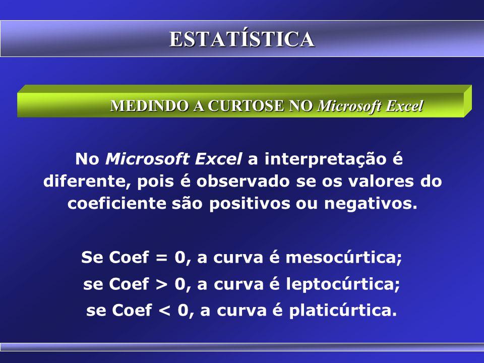 ESTATÍSTICA MEDINDO A CURTOSE NO Microsoft Excel