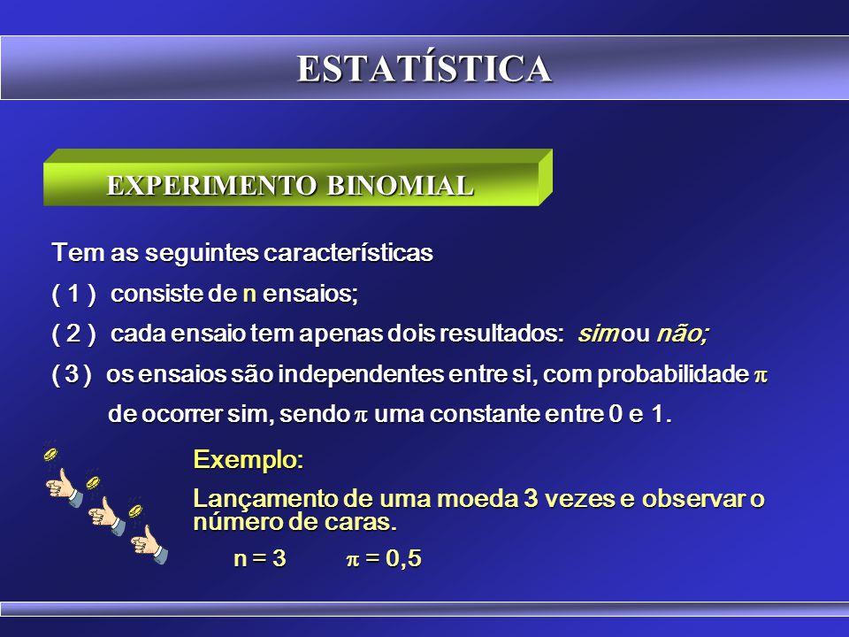 ESTATÍSTICA EXPERIMENTO BINOMIAL Tem as seguintes características