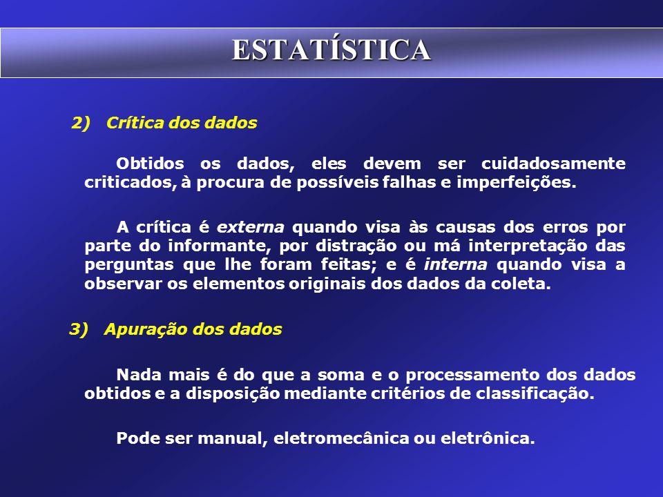 ESTATÍSTICA 2) Crítica dos dados