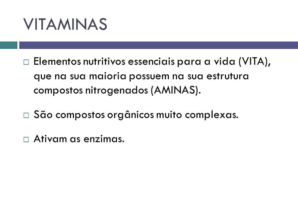 VITAMINAS Elementos nutritivos essenciais para a vida (VITA), que na sua maioria possuem na sua estrutura compostos nitrogenados (AMINAS).