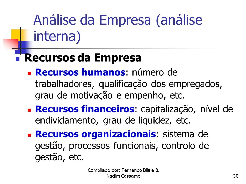 Análise da Empresa (análise interna)