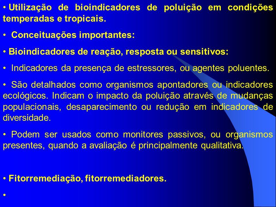 Utilização de bioindicadores de poluição em condições temperadas e tropicais.