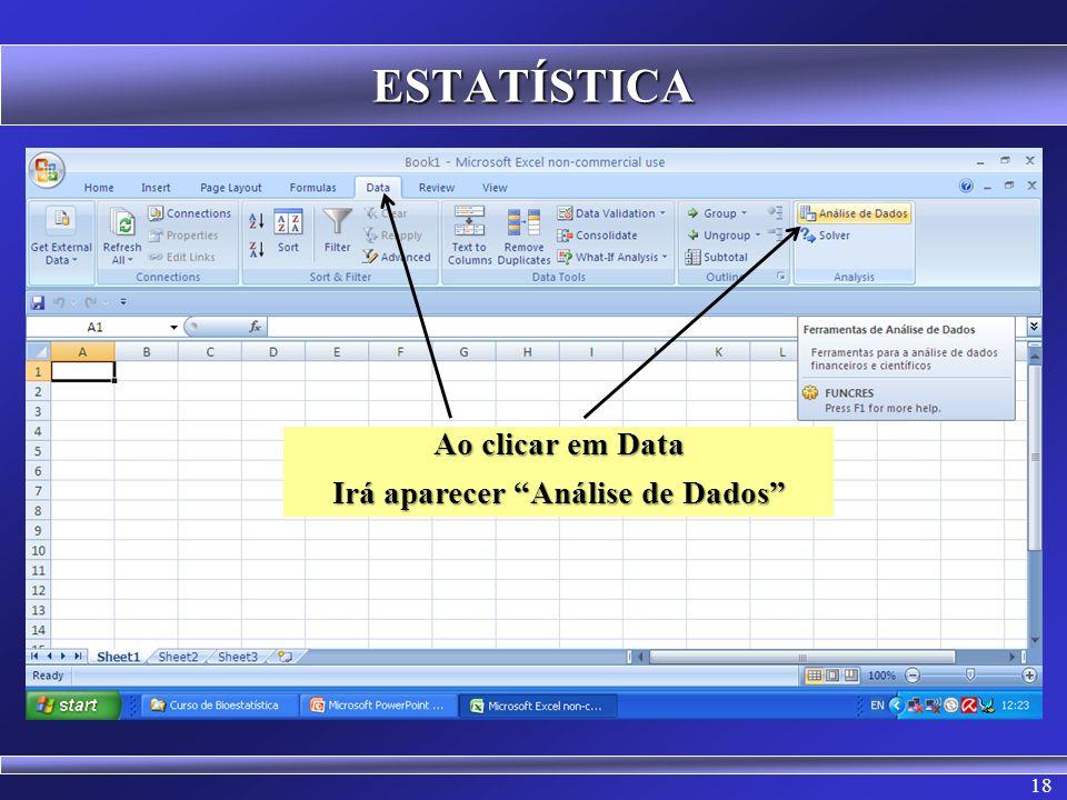 Irá aparecer Análise de Dados