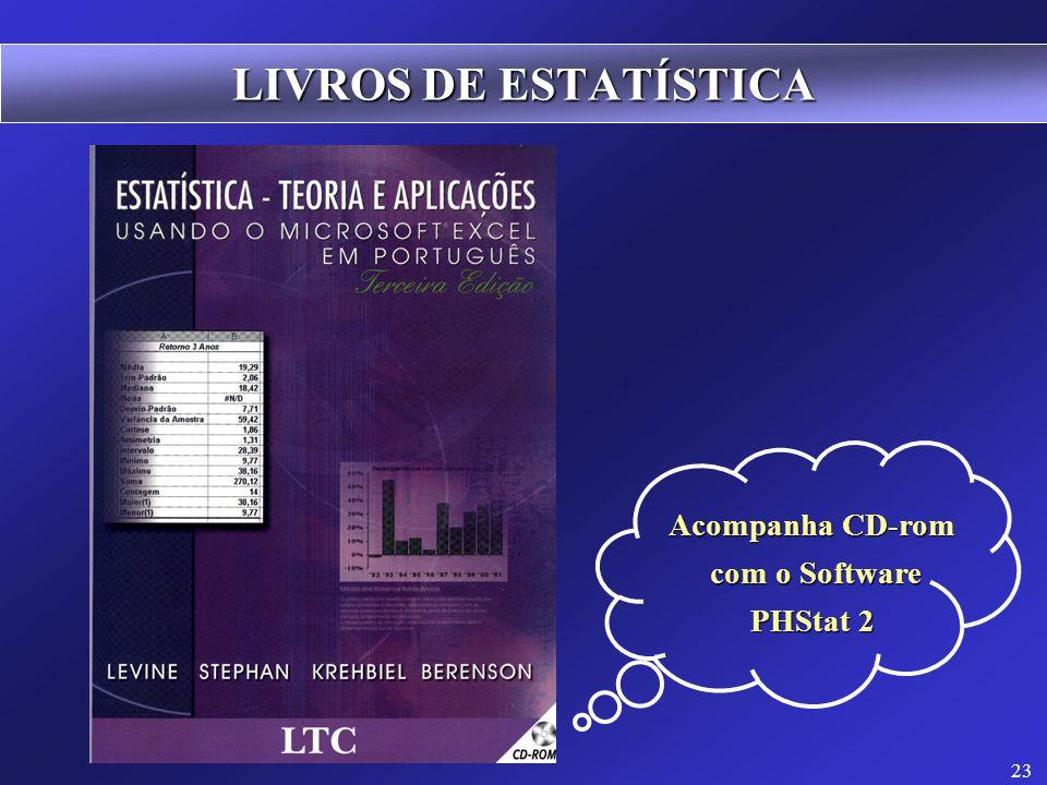 LIVROS DE ESTATÍSTICA Acompanha CD-rom com o Software PHStat 2