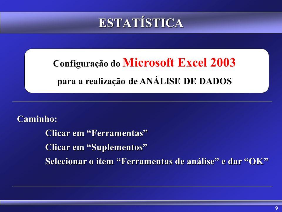 ESTATÍSTICA Configuração do Microsoft Excel 2003