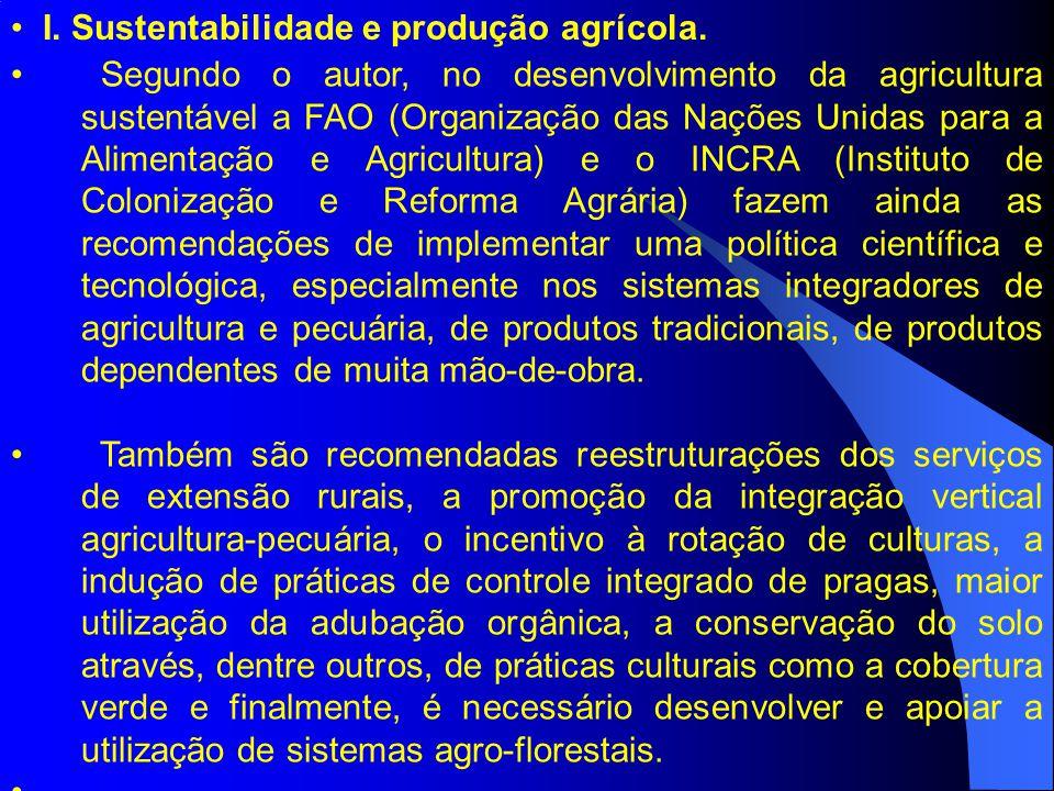 I. Sustentabilidade e produção agrícola.