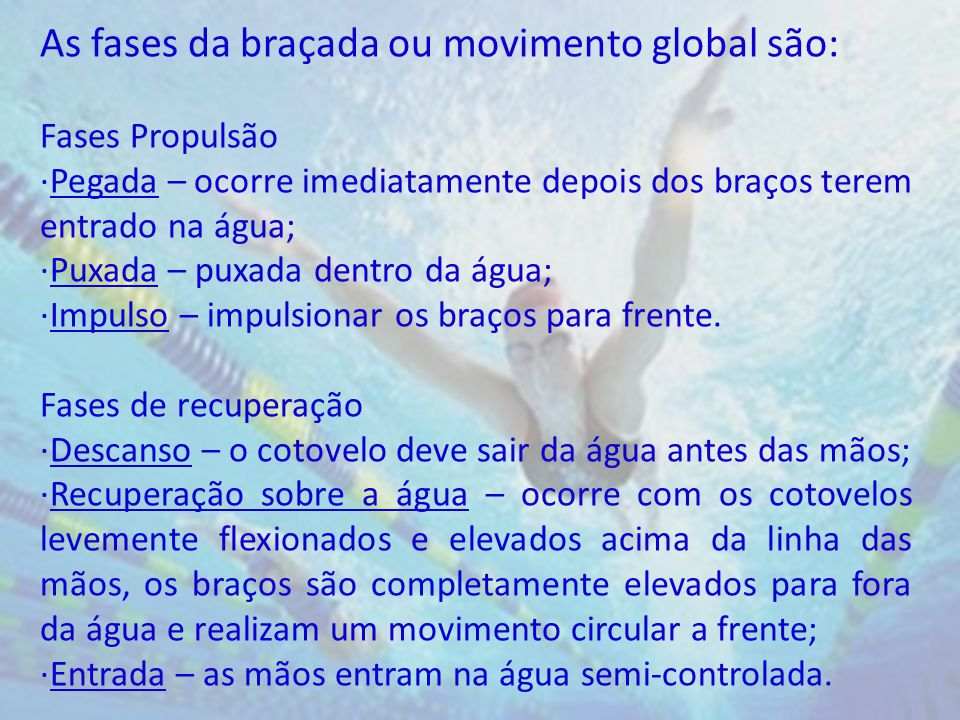 As fases da braçada ou movimento global são: