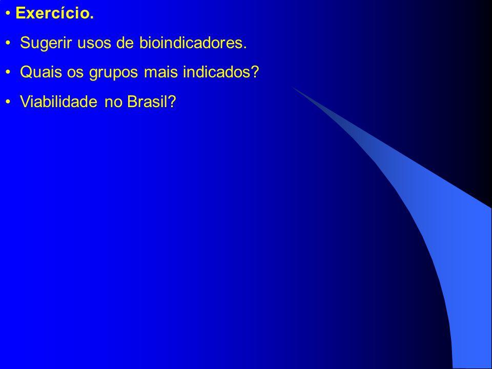 Exercício. Sugerir usos de bioindicadores. Quais os grupos mais indicados Viabilidade no Brasil