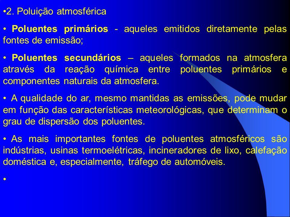 2. Poluição atmosférica Poluentes primários - aqueles emitidos diretamente pelas fontes de emissão;