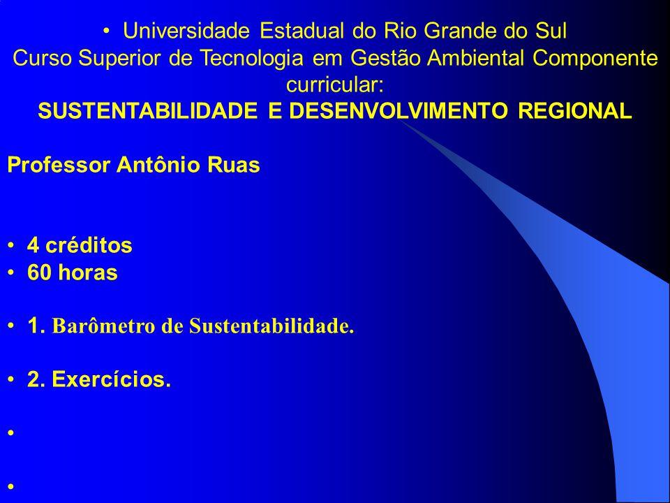 Universidade Estadual do Rio Grande do Sul Curso Superior de Tecnologia em Gestão Ambiental Componente curricular: SUSTENTABILIDADE E DESENVOLVIMENTO REGIONAL