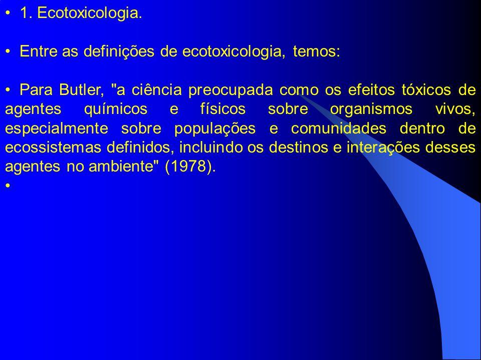 1. Ecotoxicologia. Entre as definições de ecotoxicologia, temos:
