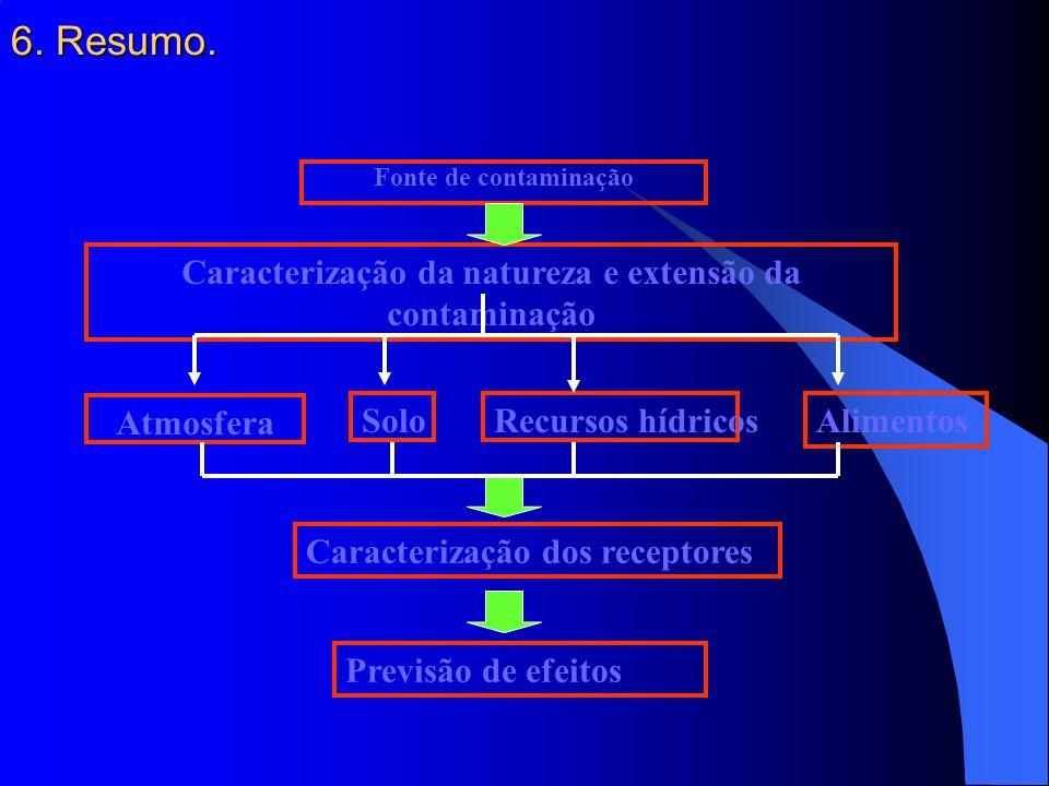 Caracterização da natureza e extensão da contaminação