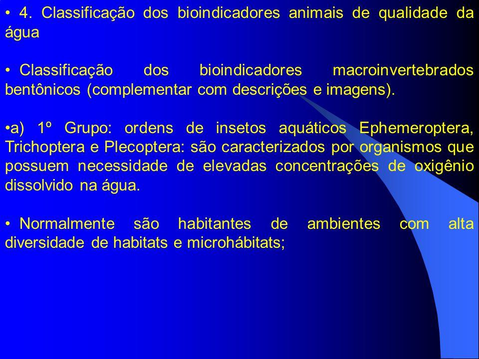 4. Classificação dos bioindicadores animais de qualidade da água