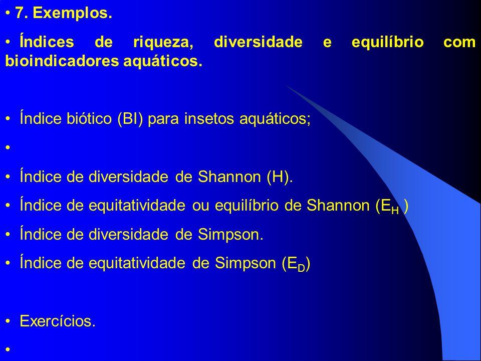 7. Exemplos. Índices de riqueza, diversidade e equilíbrio com bioindicadores aquáticos. Índice biótico (BI) para insetos aquáticos;