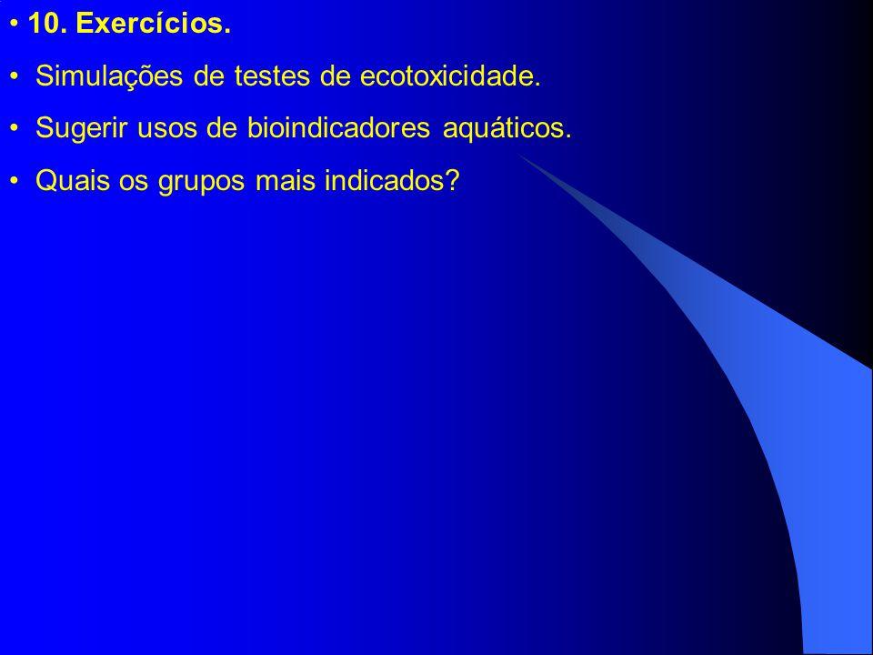 10. Exercícios. Simulações de testes de ecotoxicidade.