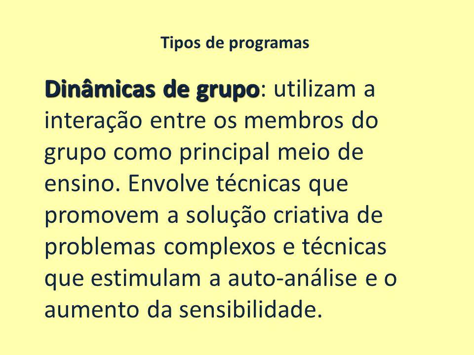 Dinâmicas de grupo: utilizam a interação entre os membros do
