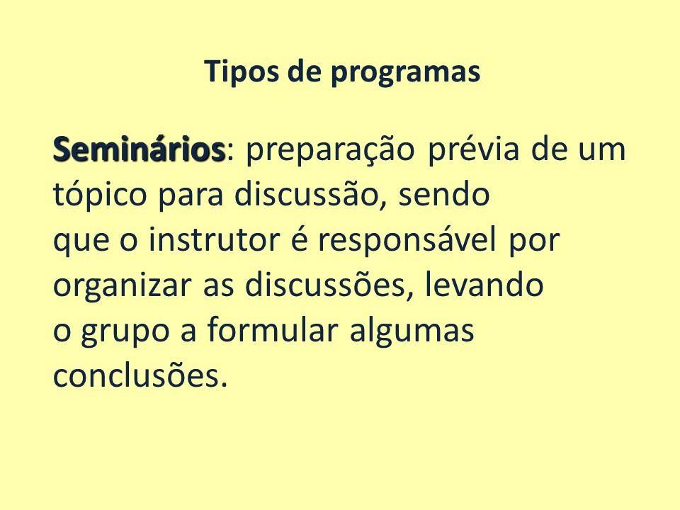 Seminários: preparação prévia de um tópico para discussão, sendo