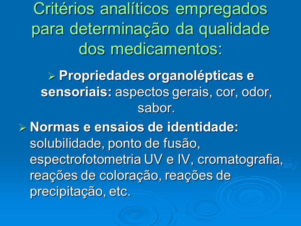 Critérios analíticos empregados para determinação da qualidade dos medicamentos: