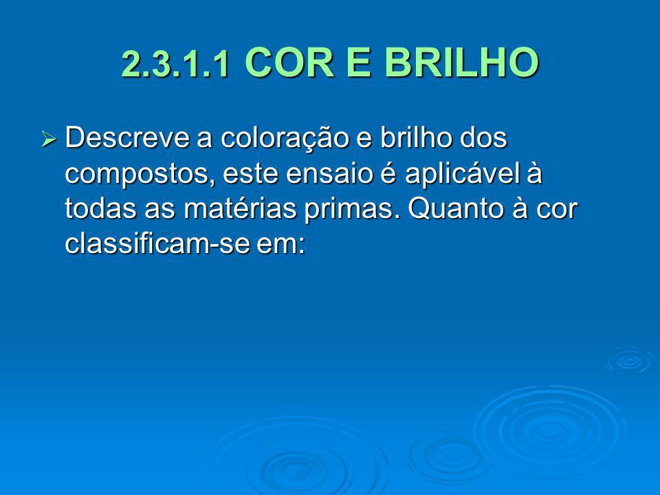 2.3.1.1 COR E BRILHO Descreve a coloração e brilho dos compostos, este ensaio é aplicável à todas as matérias primas.