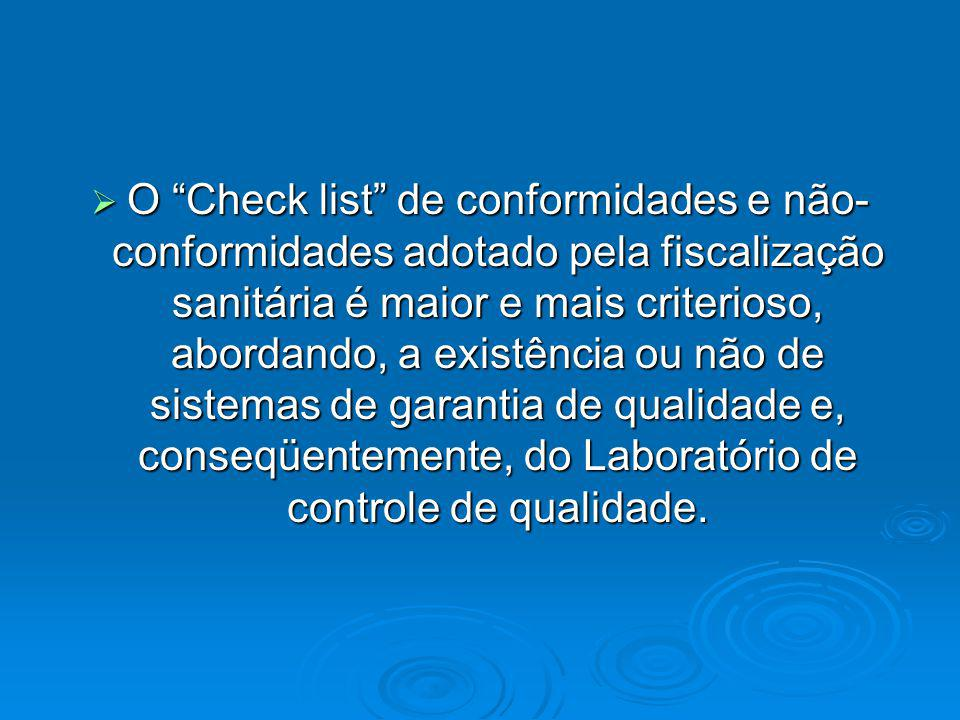 O Check list de conformidades e não-conformidades adotado pela fiscalização sanitária é maior e mais criterioso, abordando, a existência ou não de sistemas de garantia de qualidade e, conseqüentemente, do Laboratório de controle de qualidade.