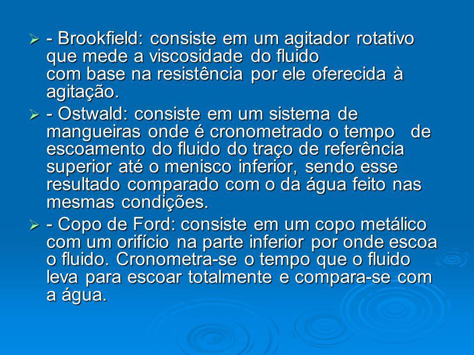 - Brookfield: consiste em um agitador rotativo que mede a viscosidade do fluido com base na resistência por ele oferecida à agitação.