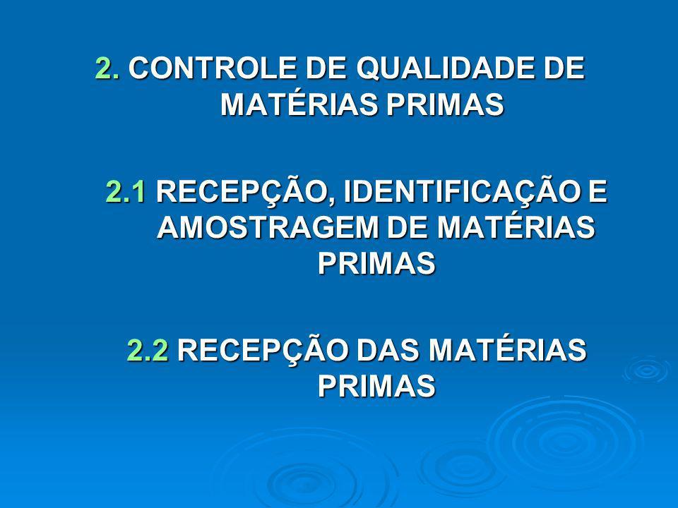 2. CONTROLE DE QUALIDADE DE MATÉRIAS PRIMAS