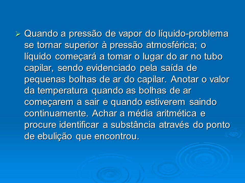 Quando a pressão de vapor do líquido-problema se tornar superior à pressão atmosférica; o líquido começará a tomar o lugar do ar no tubo capilar, sendo evidenciado pela saída de pequenas bolhas de ar do capilar.