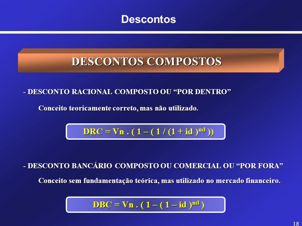 DESCONTOS COMPOSTOS Descontos