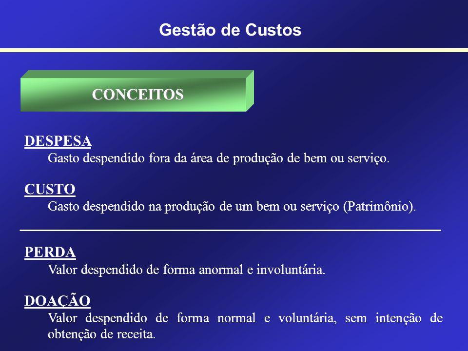 Gestão de Custos CONCEITOS DESPESA CUSTO PERDA DOAÇÃO