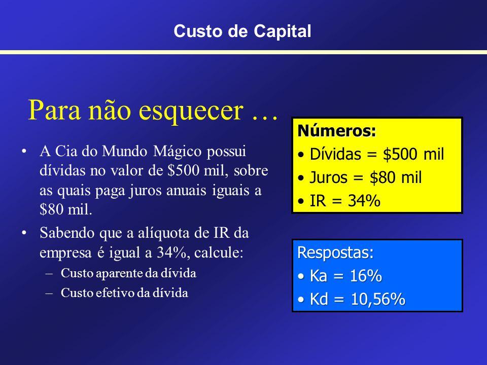 Para não esquecer … Custo de Capital Números: Dívidas = $500 mil