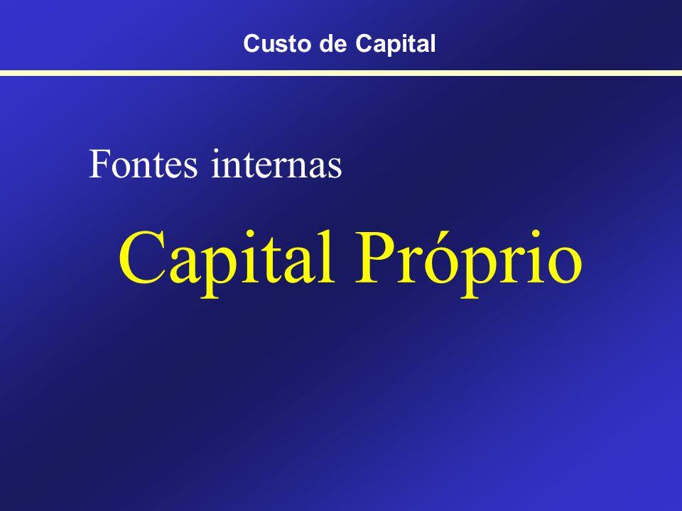 Custo de Capital Fontes internas Capital Próprio
