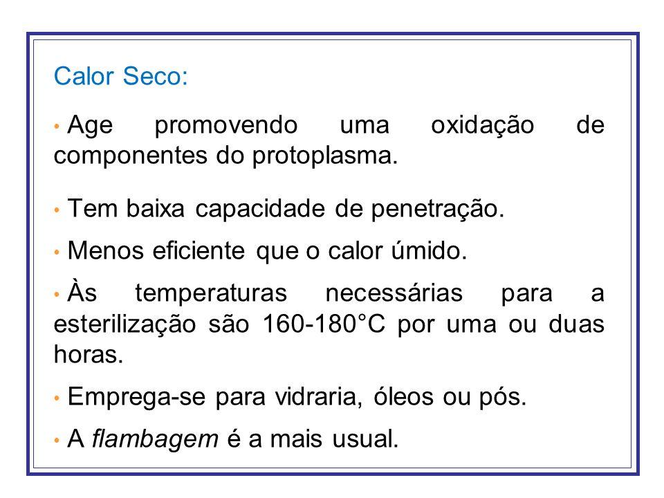 Calor Seco: Age promovendo uma oxidação de componentes do protoplasma. Tem baixa capacidade de penetração.