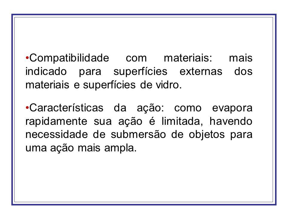 Compatibilidade com materiais: mais indicado para superfícies externas dos materiais e superfícies de vidro.