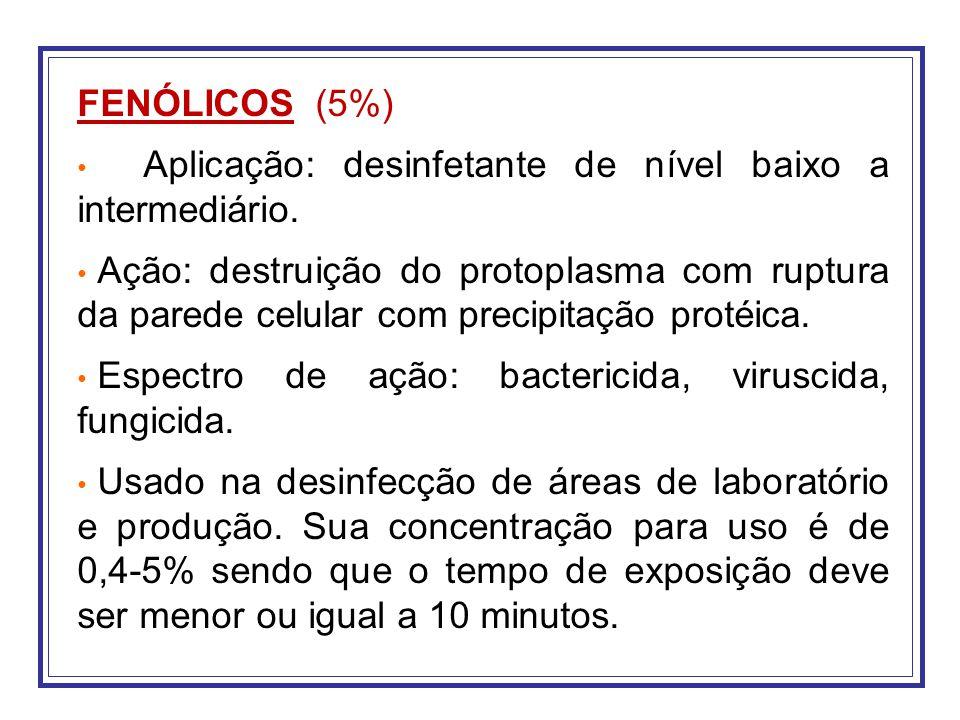 FENÓLICOS (5%) Aplicação: desinfetante de nível baixo a intermediário.