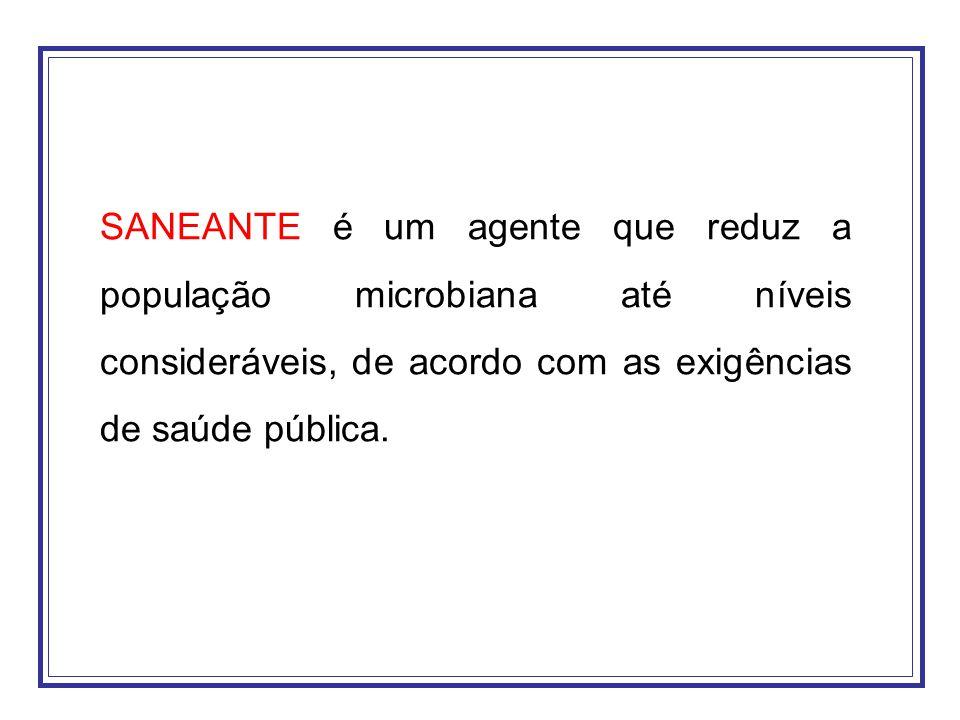 SANEANTE é um agente que reduz a população microbiana até níveis consideráveis, de acordo com as exigências de saúde pública.