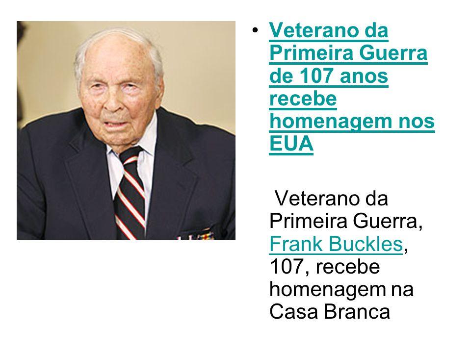 Veterano da Primeira Guerra de 107 anos recebe homenagem nos EUA