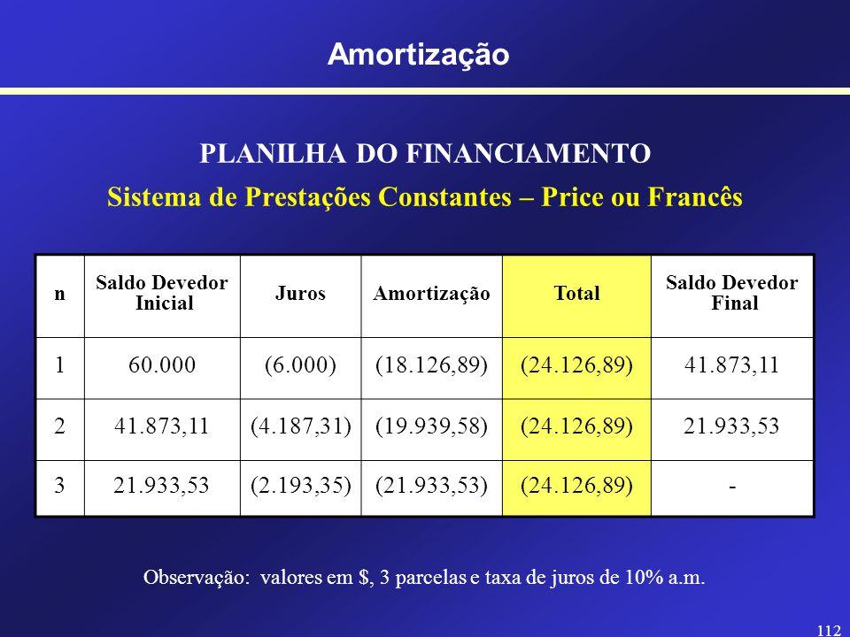 Observação: valores em $, 3 parcelas e taxa de juros de 10% a.m.
